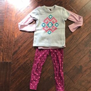 Tea Collection sweater, shirt & leggings